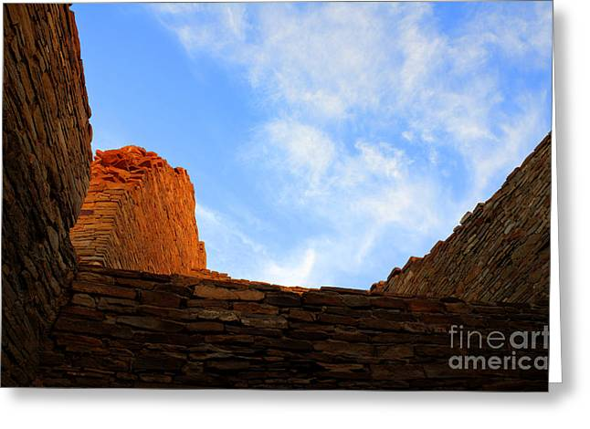 Ancient Ruins Greeting Cards - Chaco Canyon Silence Is Golden Greeting Card by Bob Christopher