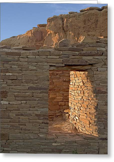 Sunlit Door Greeting Cards - Chaco canyon window Greeting Card by Steven Ralser