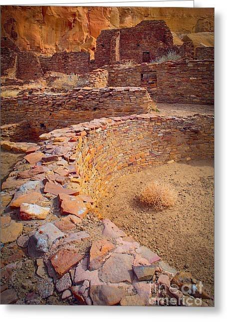 Pueblo Architecture Greeting Cards - Chaco Ruins #1 Greeting Card by Inge Johnsson