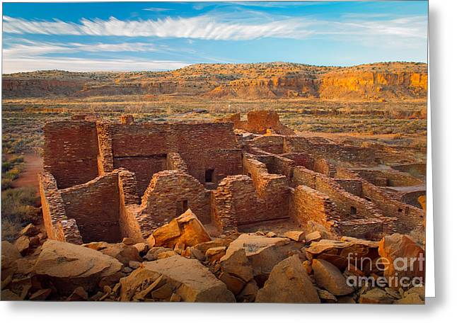 Pueblo Architecture Greeting Cards - Chaco Ruins Number 2 Greeting Card by Inge Johnsson