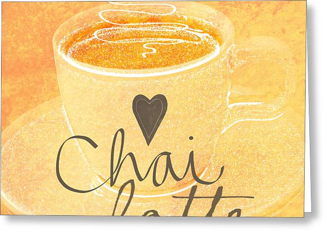 Chai Latte Love Greeting Card by Linda Woods