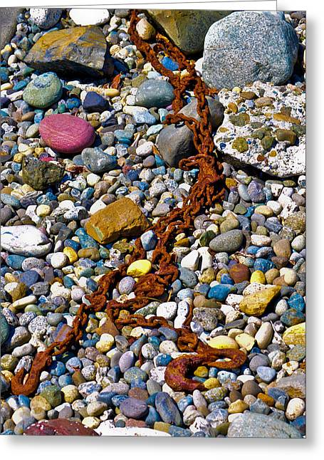 Steel Greeting Cards Greeting Cards - Chain - rusty chain in the rocks Greeting Card by Bryan Hanson