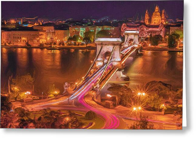 Night Lamp Greeting Cards - Chain Bridge Greeting Card by Ayse Deniz