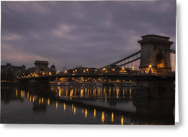 Famous Bridge Greeting Cards - Chain Bridge Dawn Greeting Card by Joan Carroll