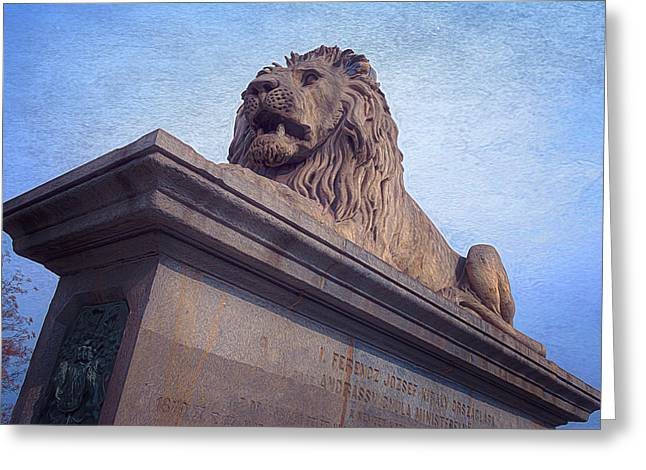 Chain Bridge Lion Greeting Card by Joan Carroll