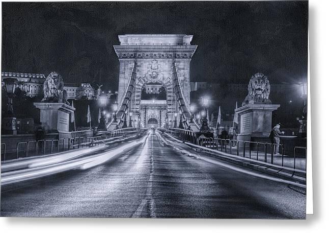 Chain Bridge Night Traffic Bwii Greeting Card by Joan Carroll