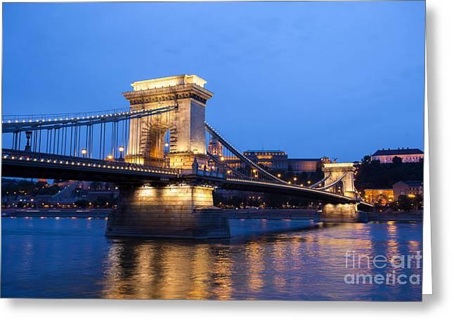 Famous Bridge Greeting Cards - Chain Bridge over Danube river Budapest cityscape Greeting Card by Cornel Achirei
