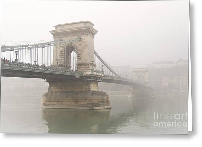 Budapest Greeting Cards - Chain Brigde in the Fog Greeting Card by Eszter Kovacs