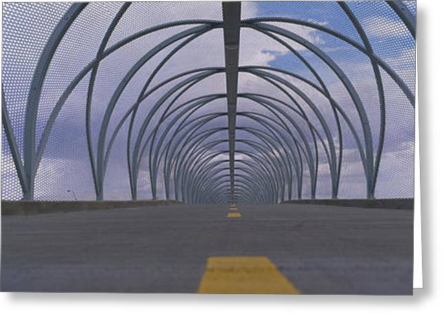 Line Design Greeting Cards - Chain-link Fence Covering A Bridge Greeting Card by Panoramic Images