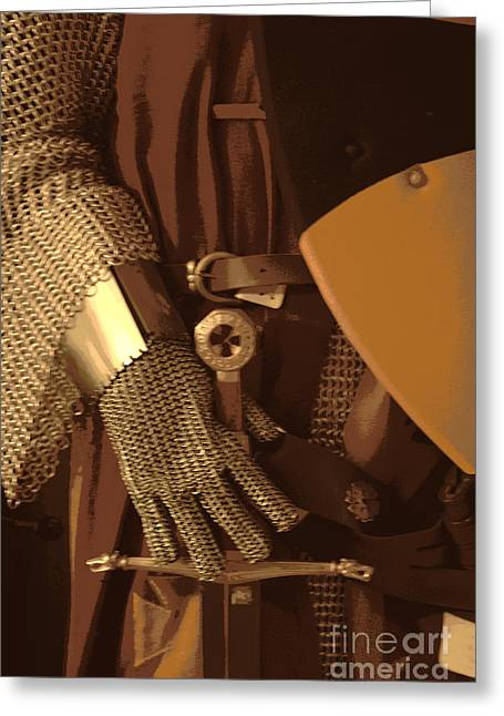 Chain Mail Greeting Cards - Chain Mail And Sword Hilt Greeting Card by Joe Jake Pratt