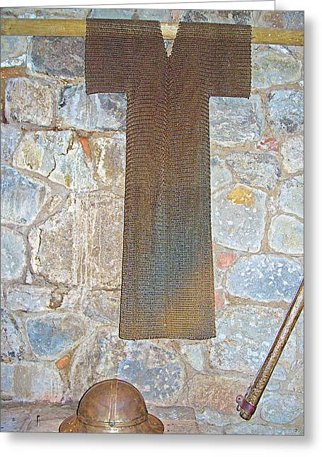 Chain Mail Greeting Cards - Chain Mail Armor in Dungeon of Castello di Amorosa in Napa Valley-CA Greeting Card by Ruth Hager
