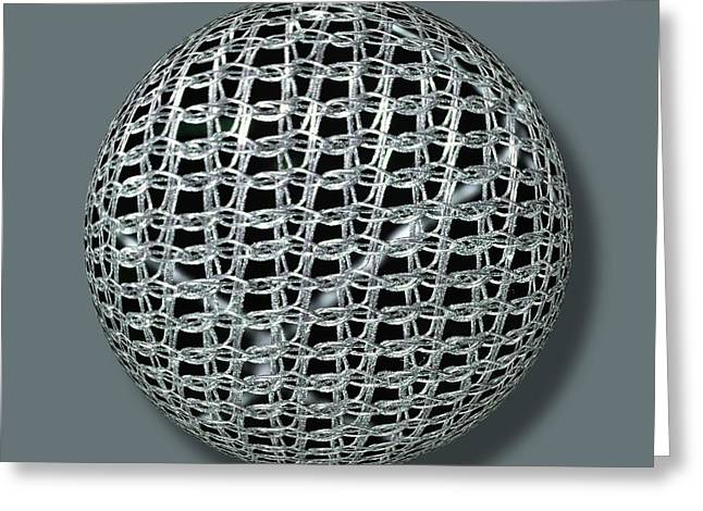Warp Mixed Media Greeting Cards - Chain Mail Armor Orb Greeting Card by Tony Rubino