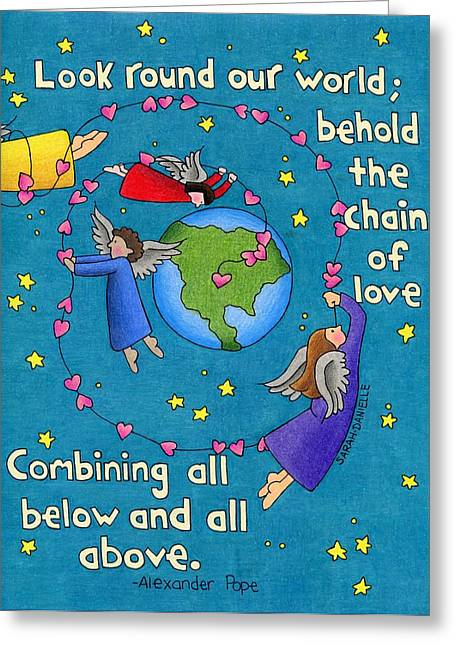 Angel Blues Greeting Cards - Chain Of Love Greeting Card by Sarah Batalka