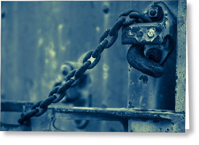 Abandoned Train Greeting Cards - Chained and Moody Greeting Card by Toni Hopper