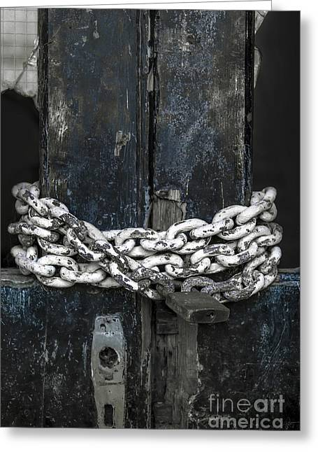 Old Lock Greeting Cards - Chained Door Greeting Card by Svetlana Sewell