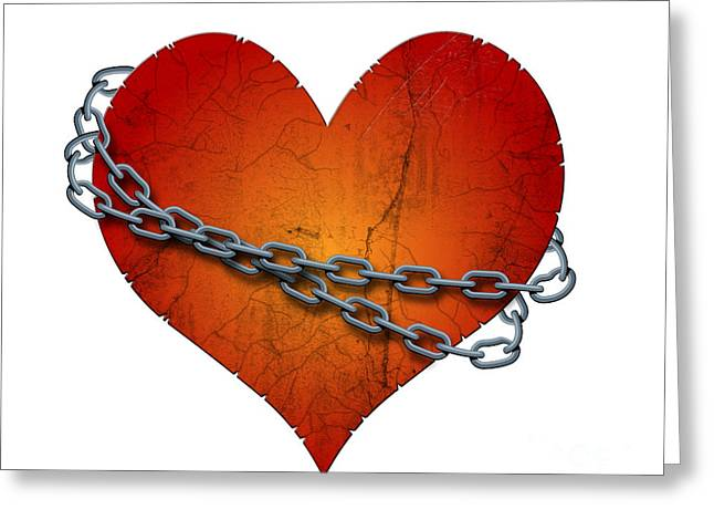 Fetters Greeting Cards - Chained Heart Greeting Card by Michal Boubin