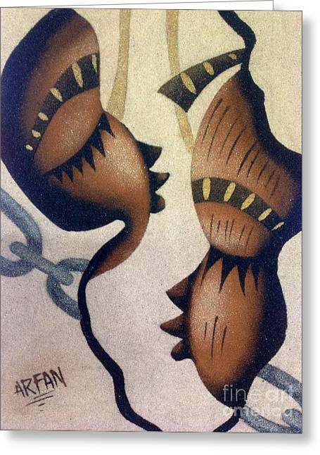 Faniart Africa America Greeting Cards - Chains Greeting Card by Fania Simon