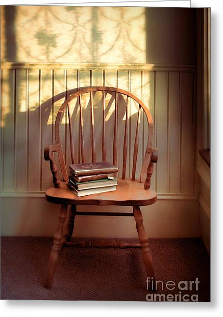 Lace Curtains Greeting Cards - Chair and Lace Shadows Greeting Card by Jill Battaglia