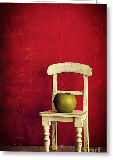Chairs Greeting Cards - Chair Apple Red Still Life Greeting Card by Edward Fielding