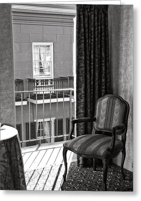 French Doors Greeting Cards - Chair at Balcony in Black and White Greeting Card by Greg and Chrystal Mimbs