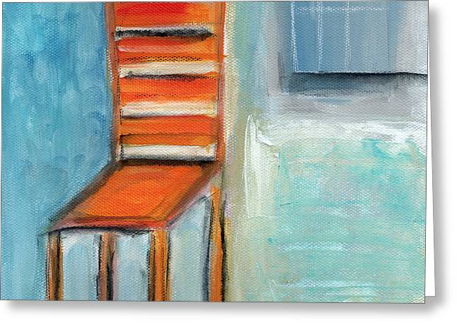 Interior Still Life Mixed Media Greeting Cards - Chair By The Window- Painting Greeting Card by Linda Woods