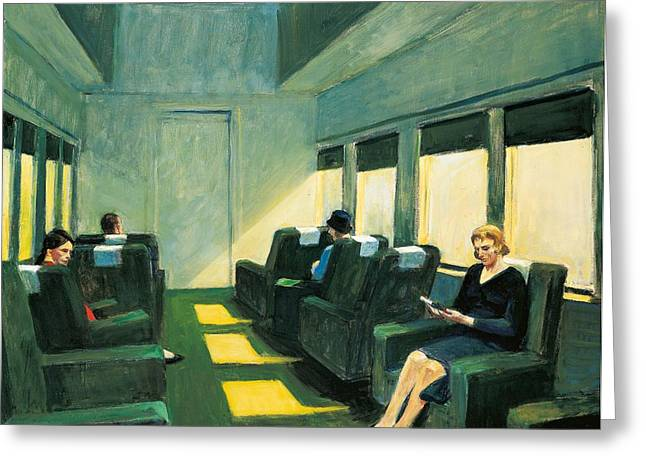 Train Car Greeting Cards - Chair Car Greeting Card by Edward Hopper