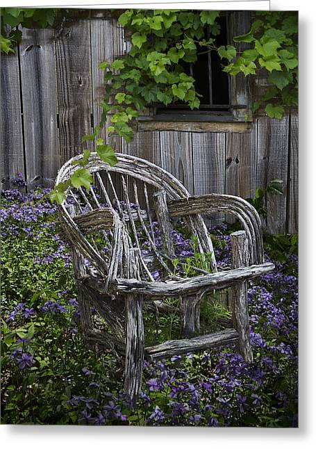 Tennessee Barn Greeting Cards - Chair in the Garden Greeting Card by Debra and Dave Vanderlaan