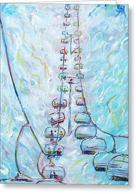 Ski Painting Greeting Cards - Chair Lift Greeting Card by Pete Caswell