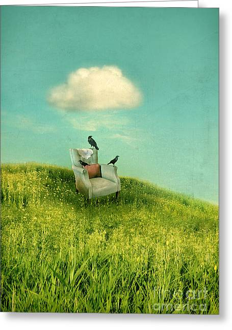 Empty Chairs Greeting Cards - Chair Under a Cloud Greeting Card by Jill Battaglia