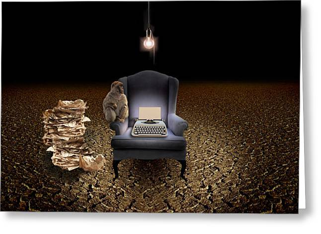 Old Light Bulb Greeting Cards - Chair With A Monkey And Typewriter Greeting Card by Panoramic Images