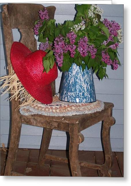 Braided Rugs Greeting Cards - Chair With Red Hat Greeting Card by Kathleen Luther