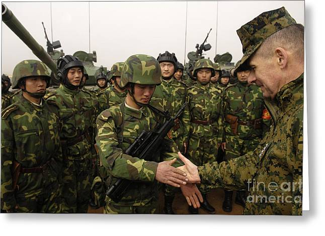 Shaking Hands Greeting Cards - Chairman Of The Joint Chiefs Of Staff Greeting Card by Stocktrek Images