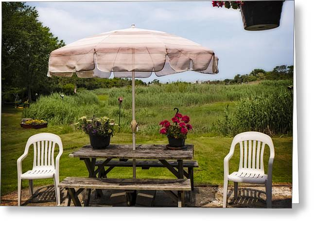 Salt Marsh. New England Greeting Cards - Chairs and Table Greeting Card by Frank Winters