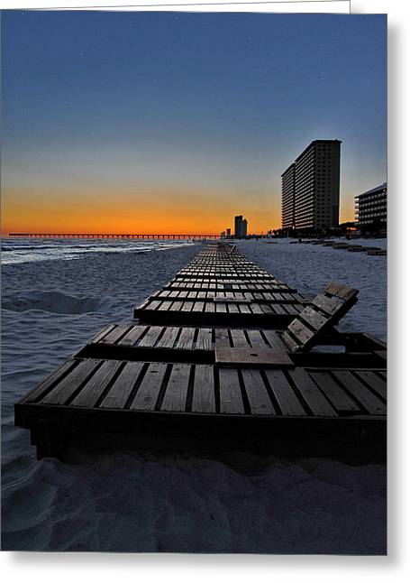Panama City Beach Greeting Cards - Chairs At Sunset Greeting Card by Ron Weathers