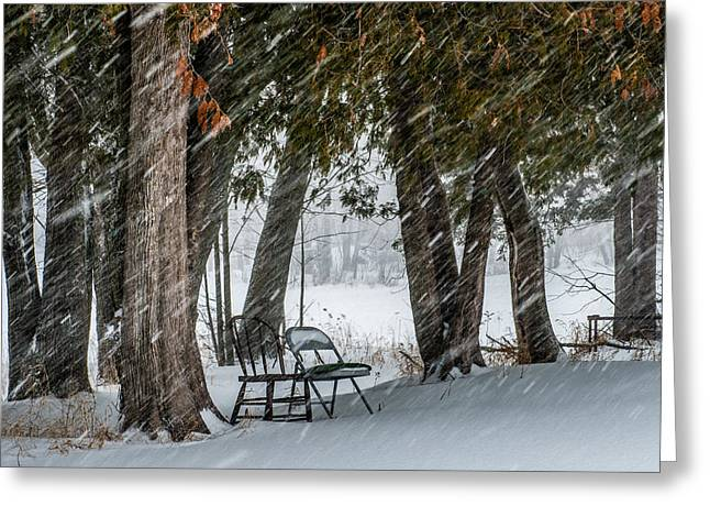 Blowing Snow Greeting Cards - Chairs in a blizzard Greeting Card by Paul Freidlund