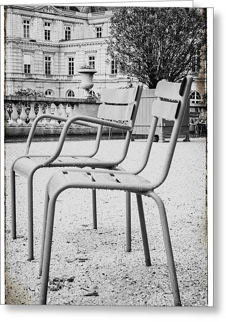 Chairs In The Garden Greeting Card by Georgia Fowler