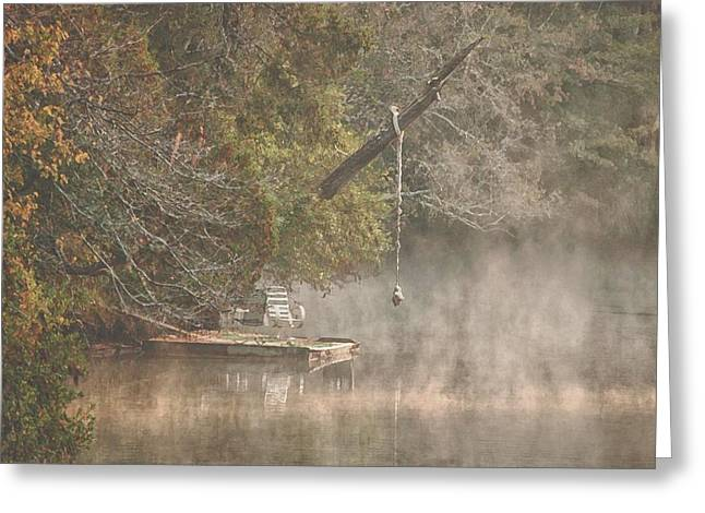 Crimson Tide Greeting Cards - Chairs in the Mist Greeting Card by Michael Thomas