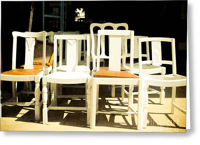 Chairs In White Greeting Card by Sonja Quintero