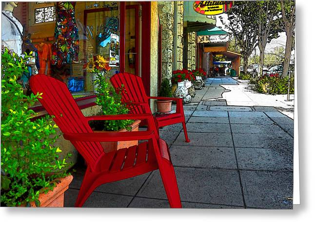 Calistoga Digital Art Greeting Cards - Chairs On A Sidewalk Greeting Card by James Eddy