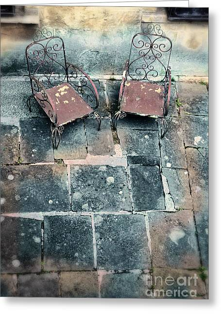 Empty Chairs Greeting Cards - Chairs on a Terrace Greeting Card by Jill Battaglia