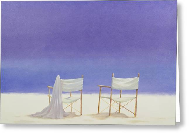 Sand Greeting Cards - Chairs On The Beach, 1995 Acrylic On Canvas Greeting Card by Lincoln Seligman