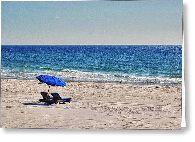 Chairs on the Beach with Umbrella Greeting Card by Michael Thomas