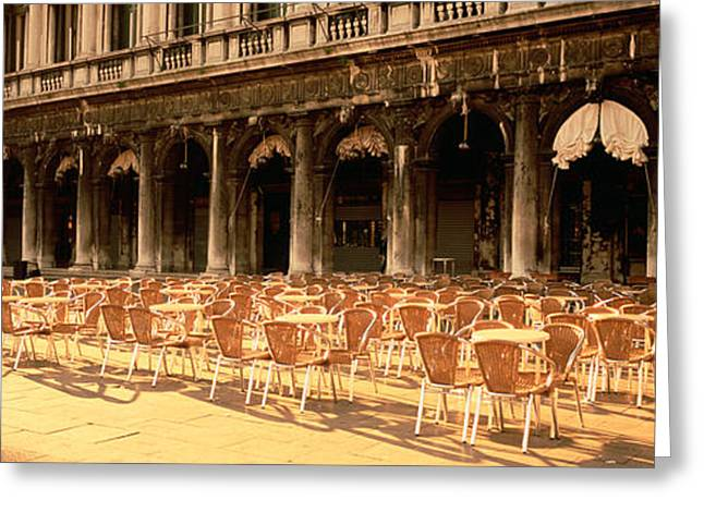 Repetition Greeting Cards - Chairs Outside A Building, Venice, Italy Greeting Card by Panoramic Images