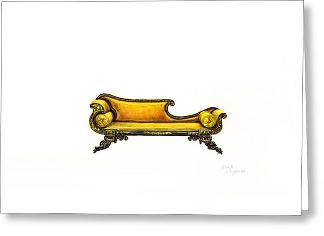 Chaise Greeting Cards - Chaise  Greeting Card by Jazmin Angeles