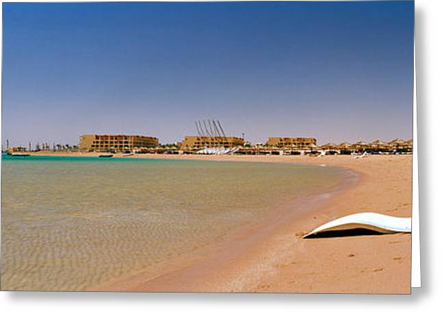 Chaise Photographs Greeting Cards - Chaise Longue On The Beach, Soma Bay Greeting Card by Panoramic Images