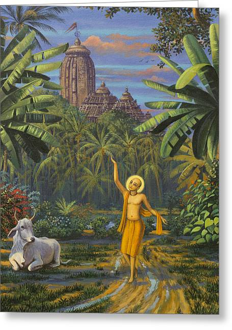 Chaitanya Mahaprabhu In Jaganath Puri Greeting Card by Vrindavan Das