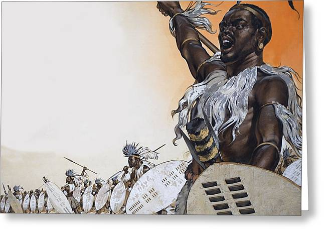 African Drawings Greeting Cards - Chaka In Battle At The Head Greeting Card by Angus McBride