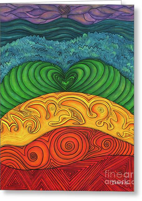Contemporary Symbolism Greeting Cards - Chakra Ascension Greeting Card by Deborha Kerr
