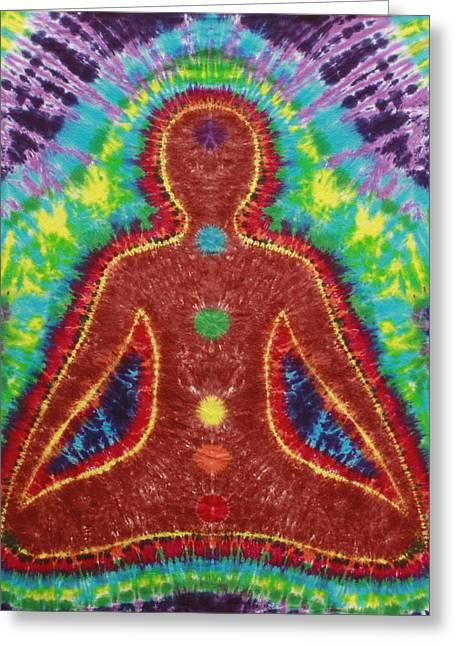 Meditate Tapestries - Textiles Greeting Cards - Chakra Buddha Greeting Card by Carl McClellan