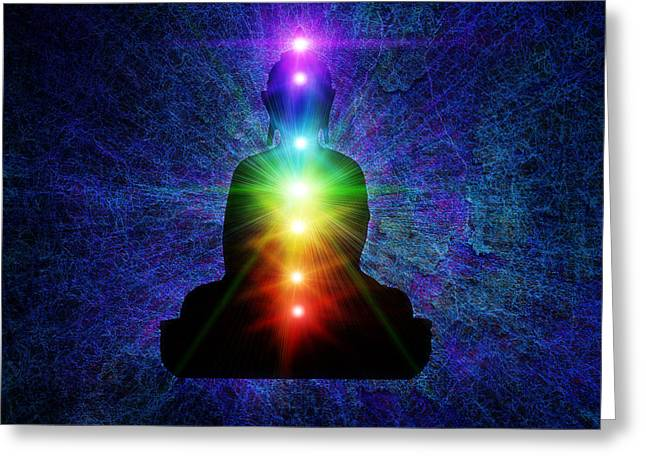 Awareness Greeting Cards - Chakra Buddha Greeting Card by Tim Gainey